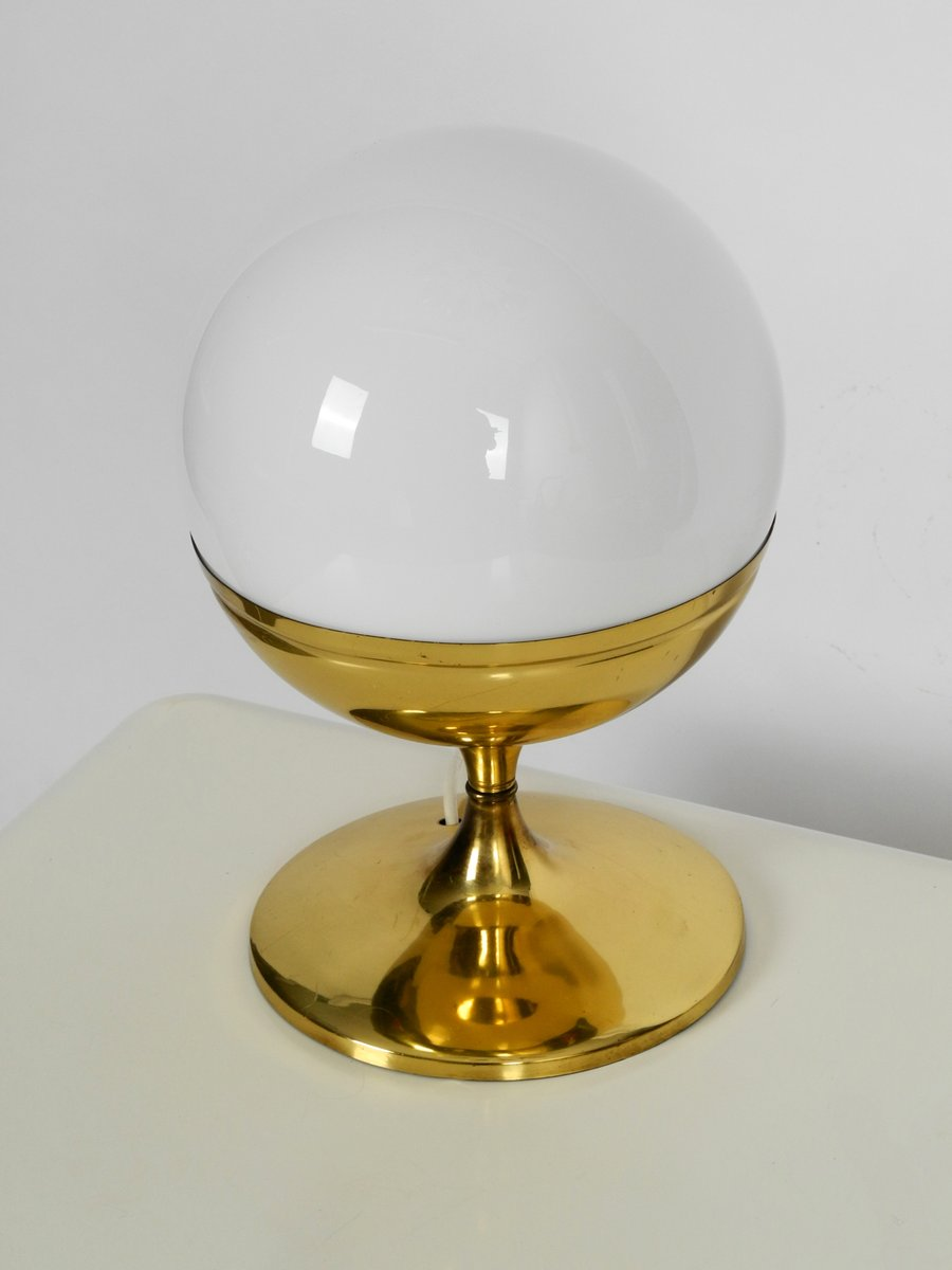 Large Space Age Brass Tulip Table Lamp With Glass Sphere 1960s Bei