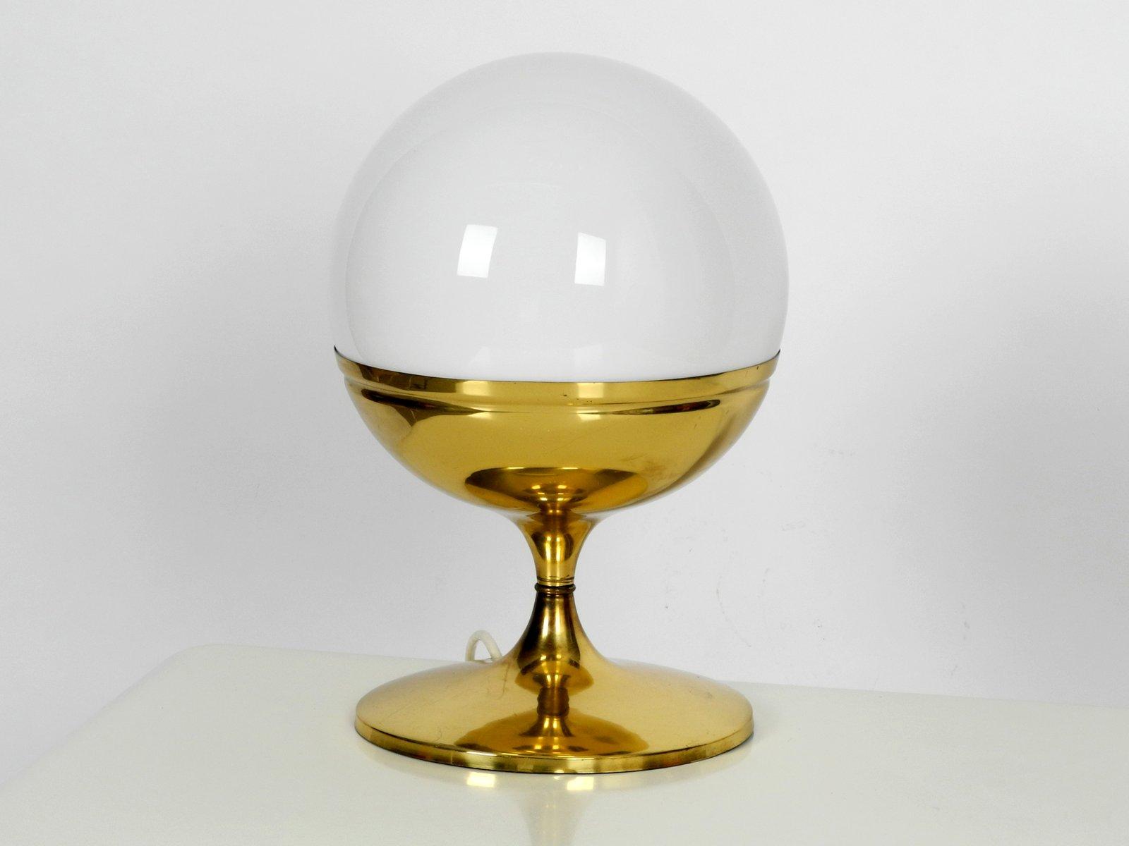 Große Tulip Space Age Tischlampe aus Messing mit Glaskugel, 1960er