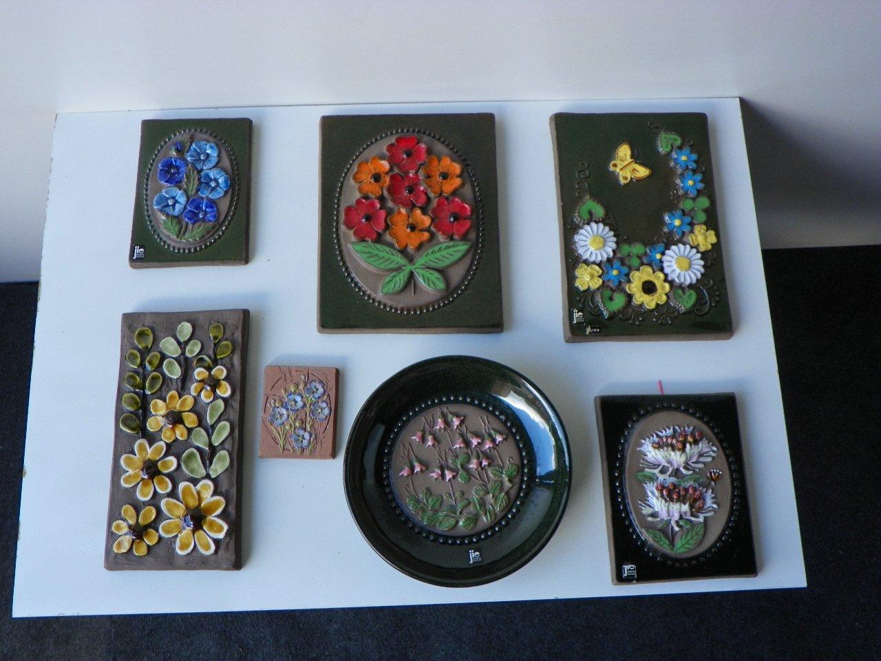 Mattonelle vintage di jie gantofta keramik sweden set di 7 in