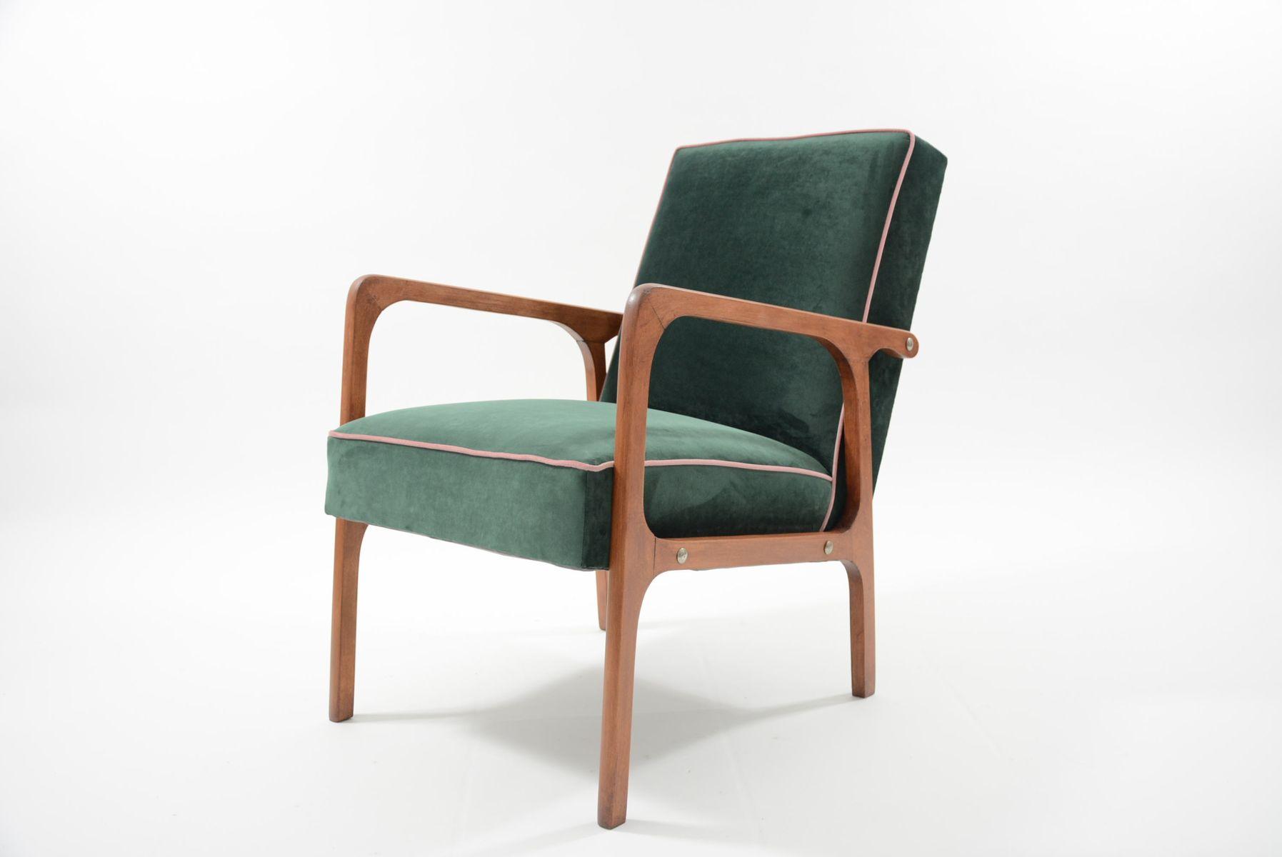 Kadr Vintage Sessel aus waldgrünem Samt, 1960er