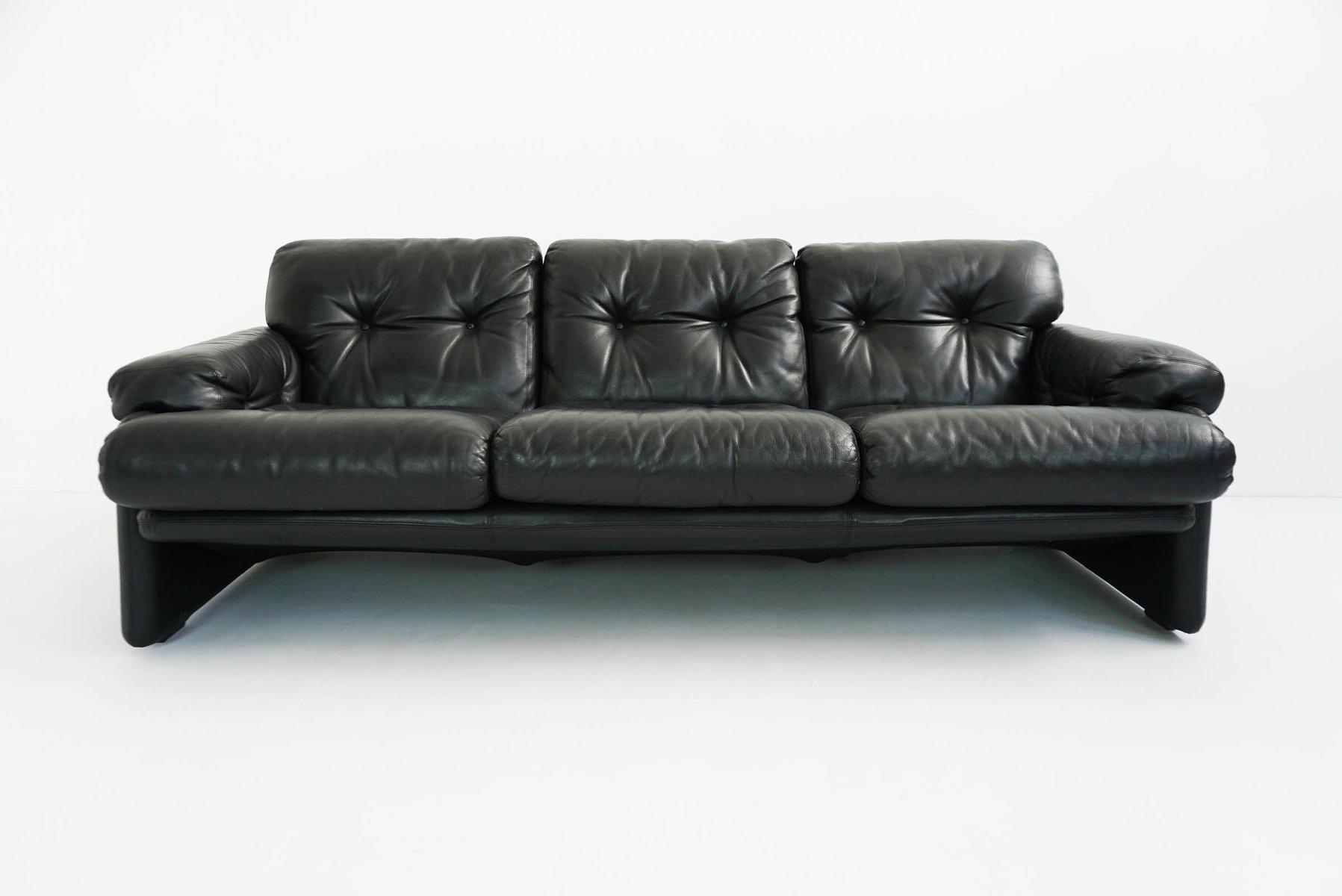 Vintage Black Leather Coronado 3 Seat Sofa By Tobia U0026 Afra Scarpa For Bu0026B  Italia / Cu0026B Italia