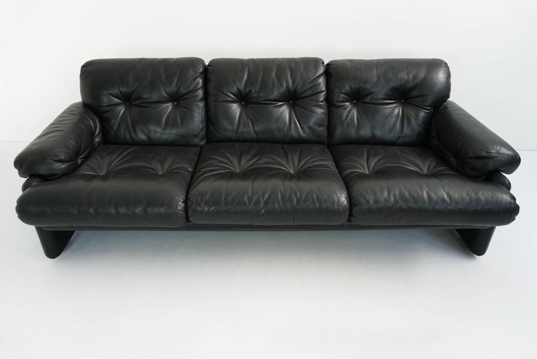 Schwarzes Vintage 3-Sitzer Coronado Ledersofa von Tobia & Afra Scarpa ...