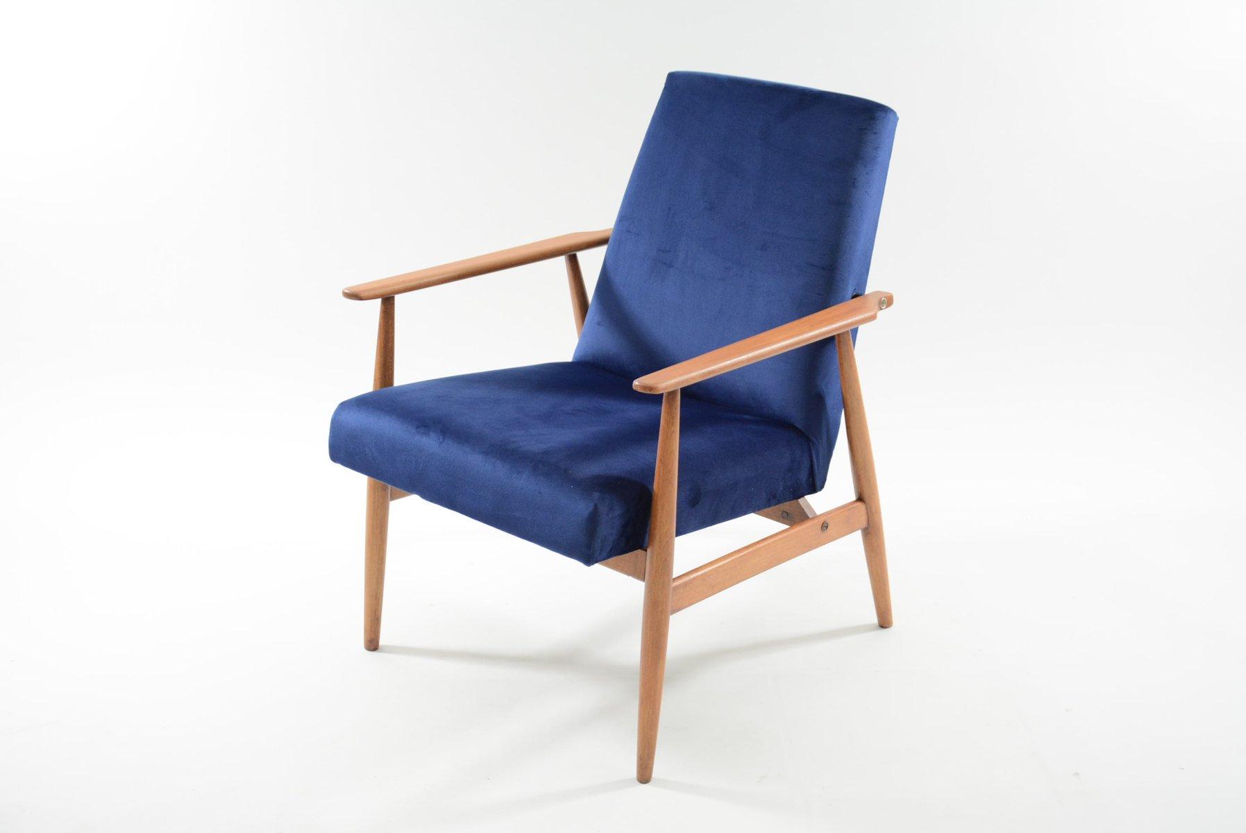Modell Fox Sessel in königsblauem Samt von H. Lis, 1960er