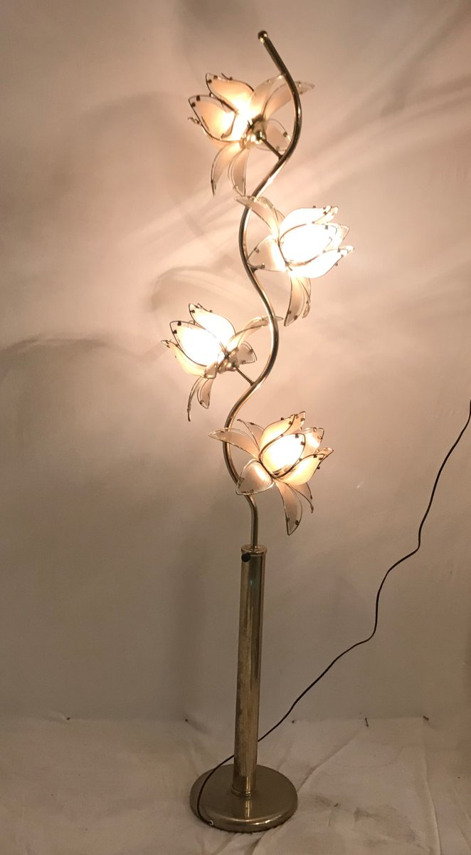 Mid Century Italian Glass Flower Floor Lamp For Sale At Pamono