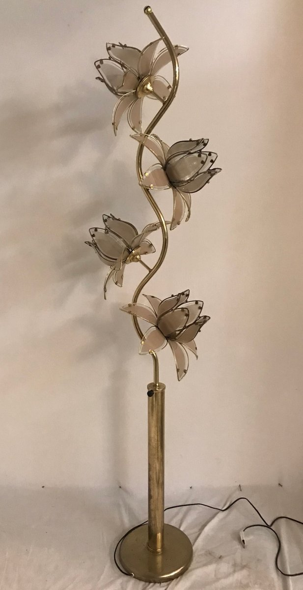 Mid Century Italian Glass Flower Floor Lamp For Sale At Pamono