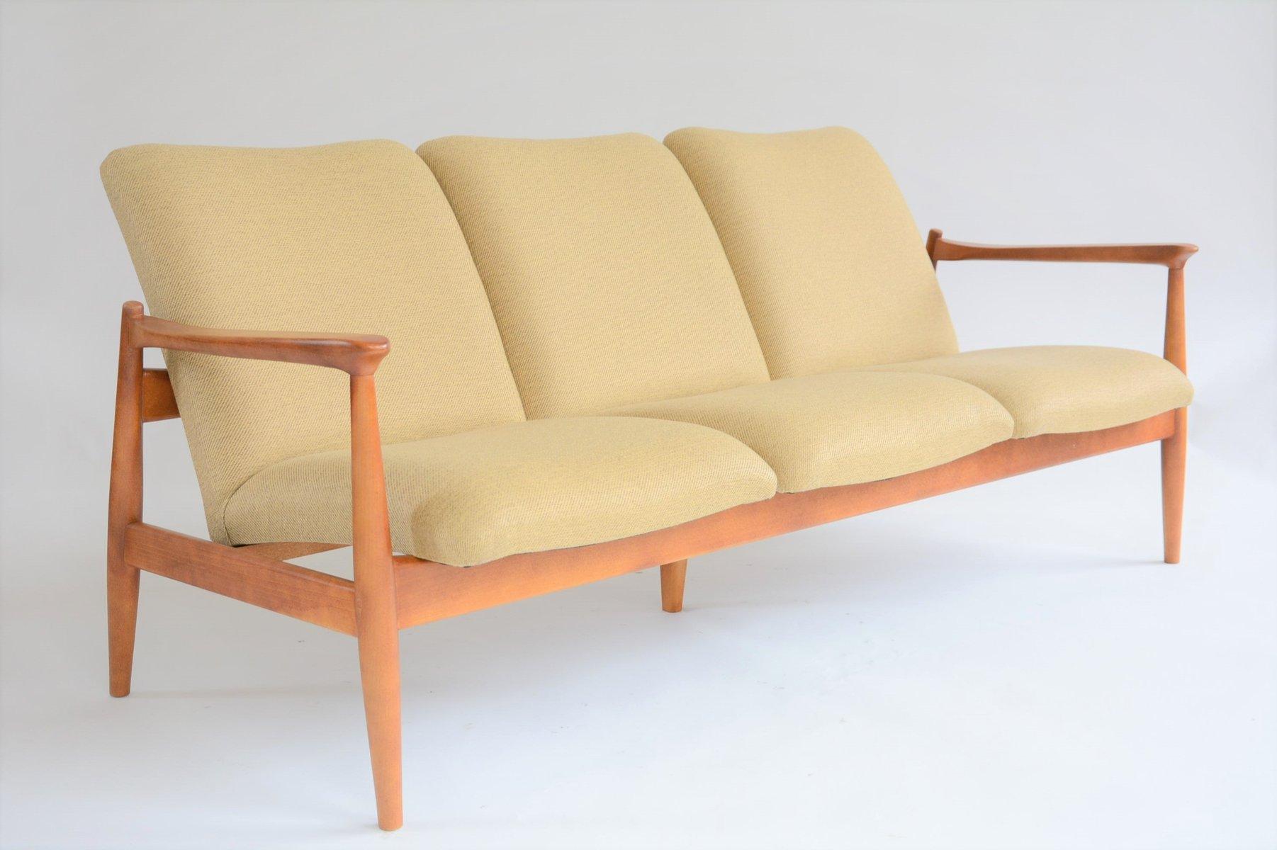 Gelbes Vintage 3-Sitzer Sofa, 1970er