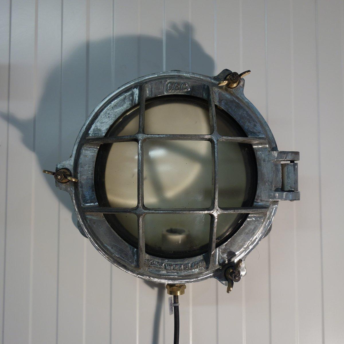 Industrielle Schottwandleuchte aus gebürstetem Aluminium von Gec, 1950...