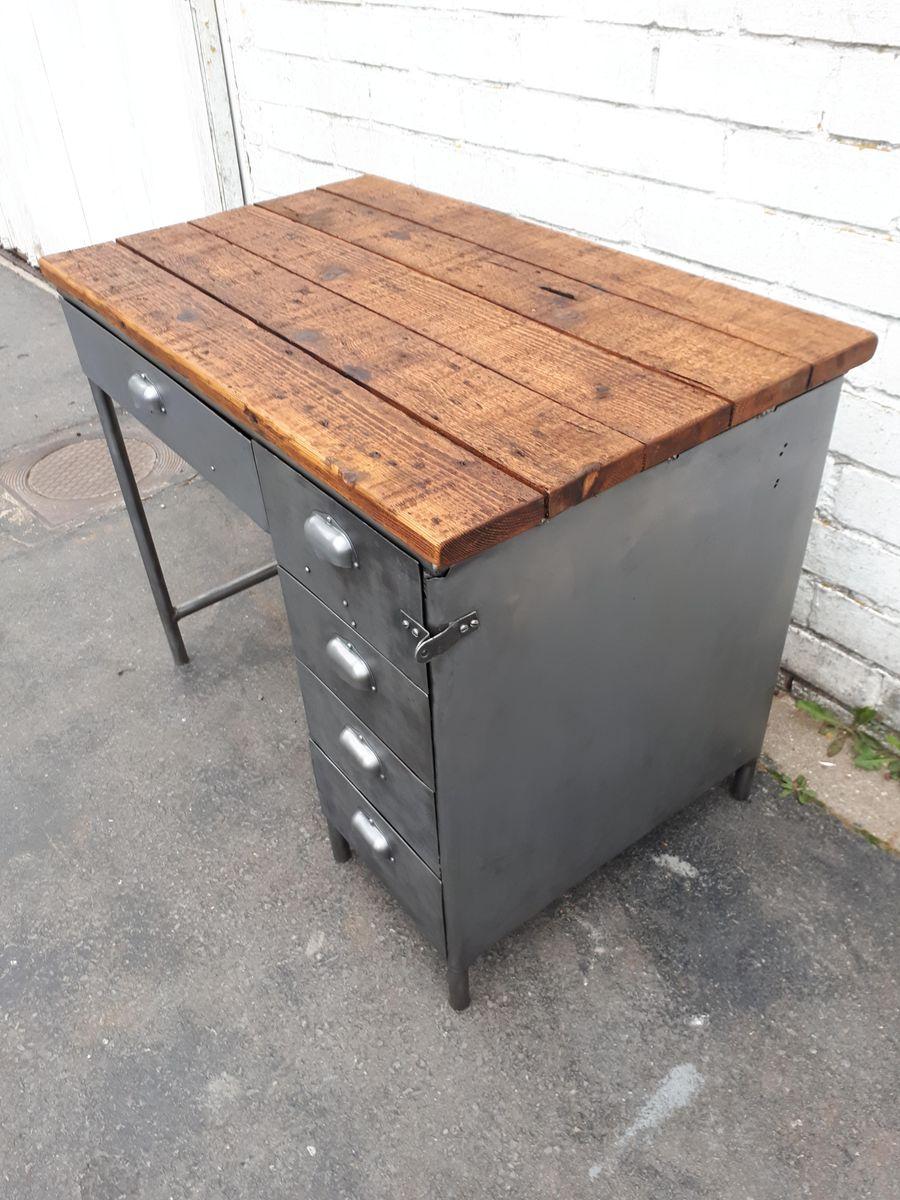 Vintage Industrial Desk with Metal Drawers - Vintage Industrial Desk With Metal Drawers For Sale At Pamono