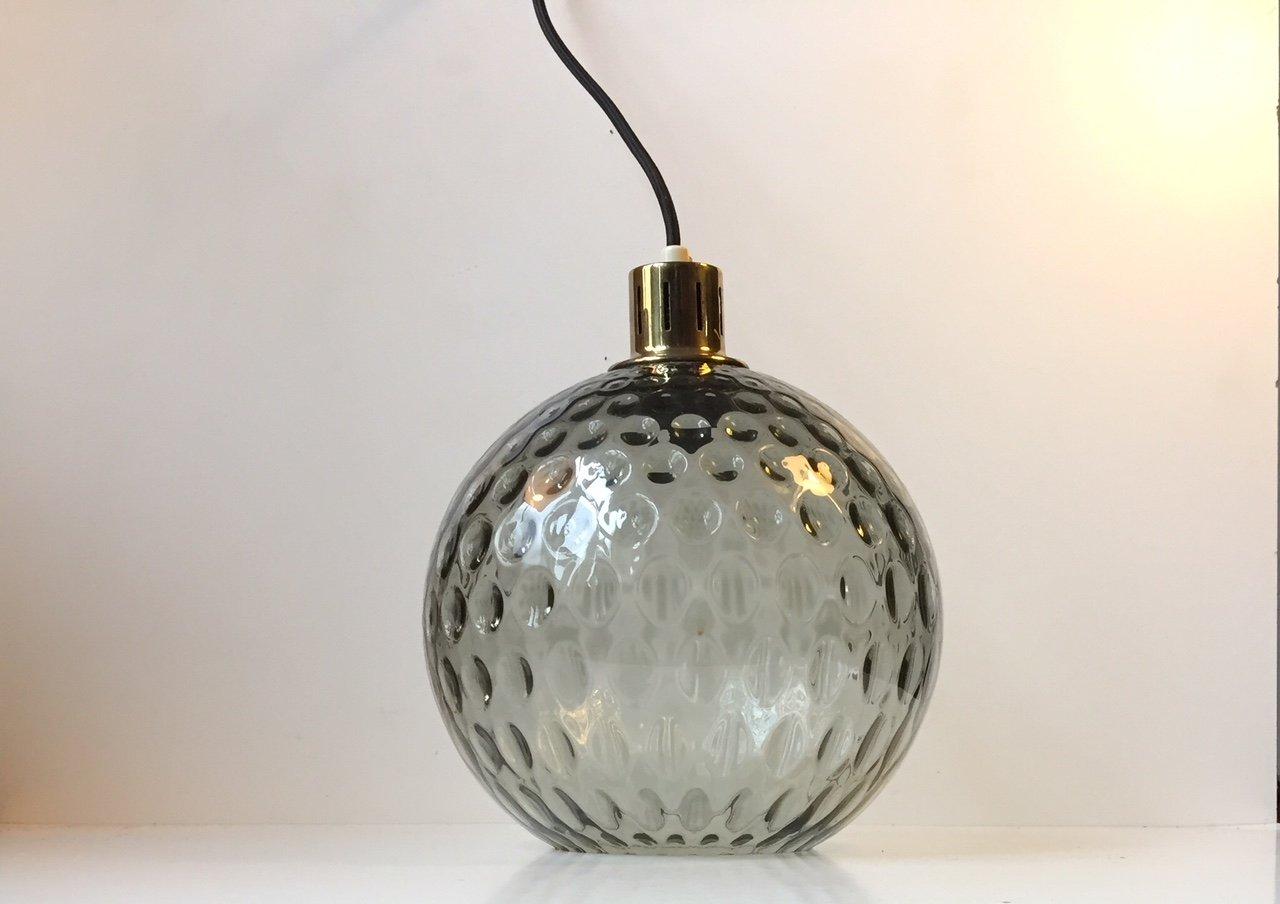 Hängelampe aus Glas & Messing von Orrefors, 1960er