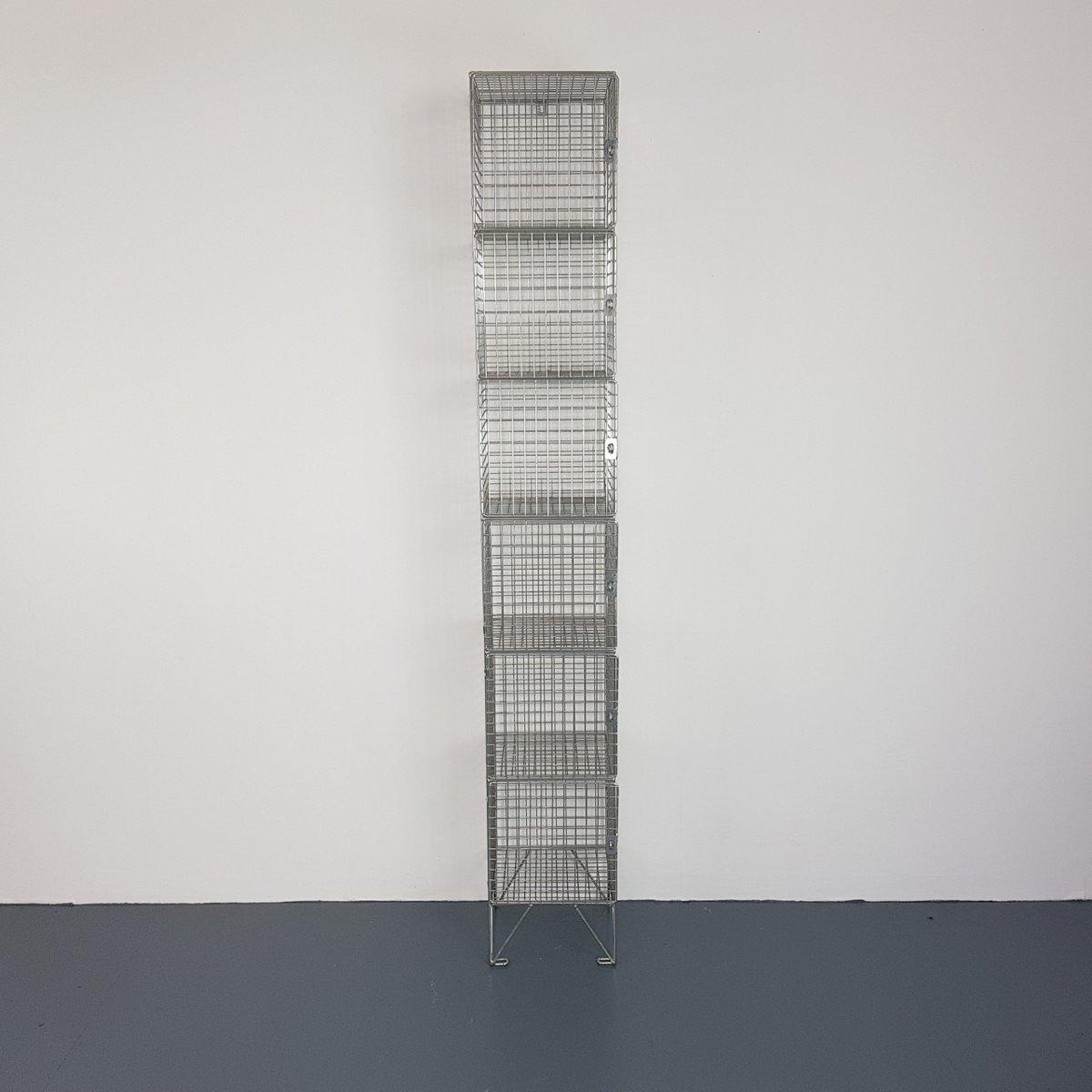 Vintage Schließfächer aus Drahtgeflecht, 6er Set