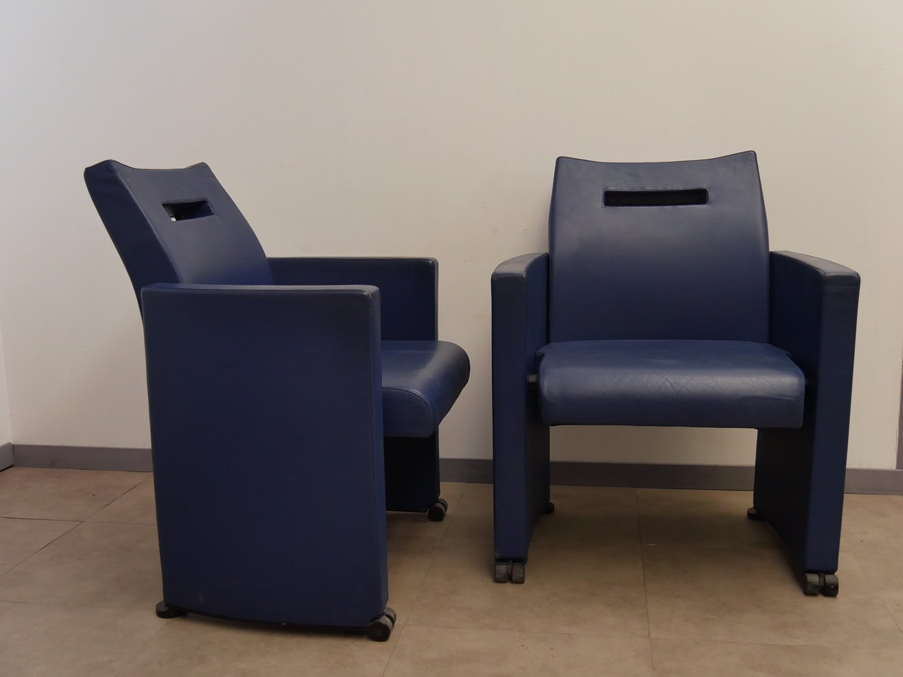 Blauer Sessel von Jean Michel Wilmotte, 1970er, 2er Set