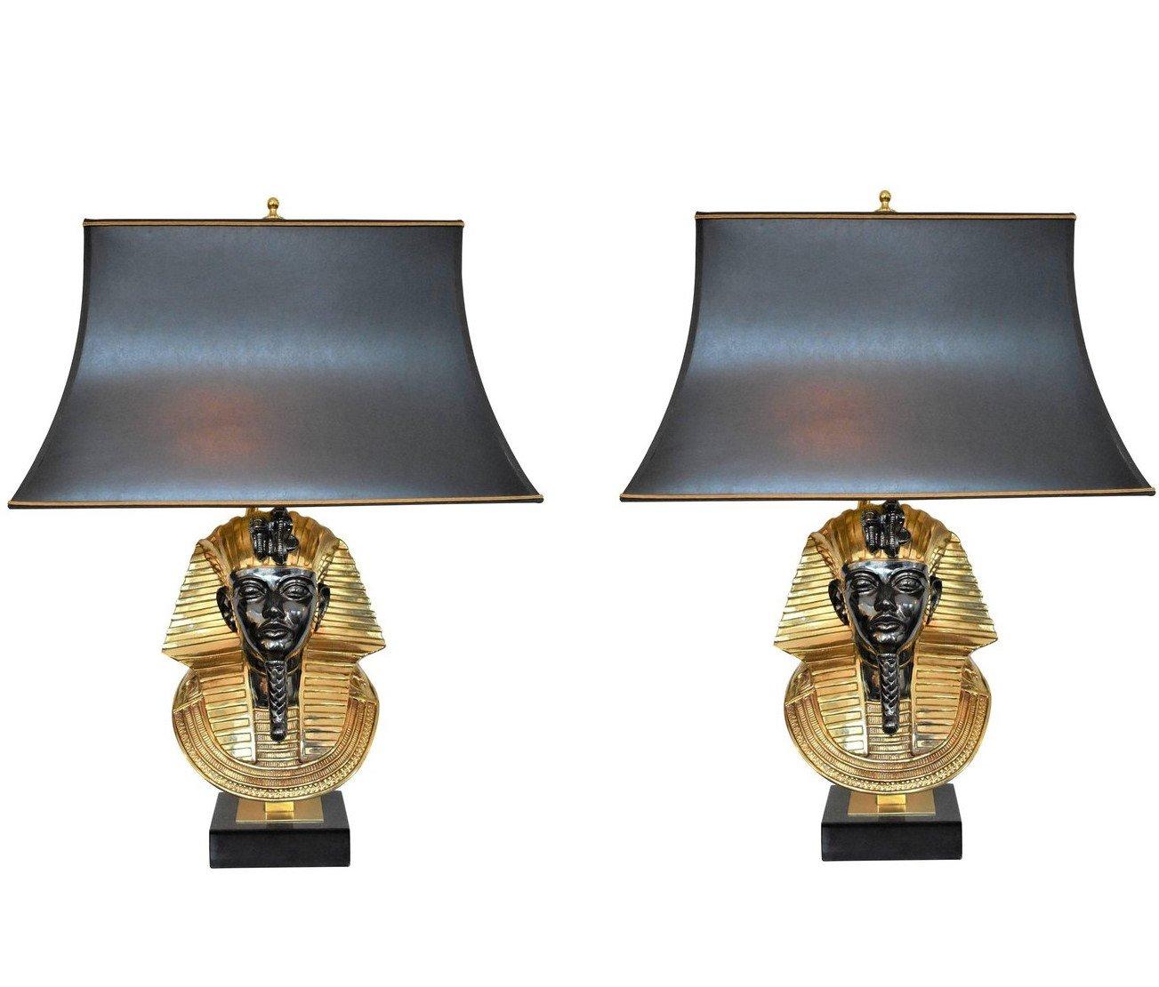 Pharaoh Tischlampen von Maison Jansen für Deknudt, 1970er, 2er Set