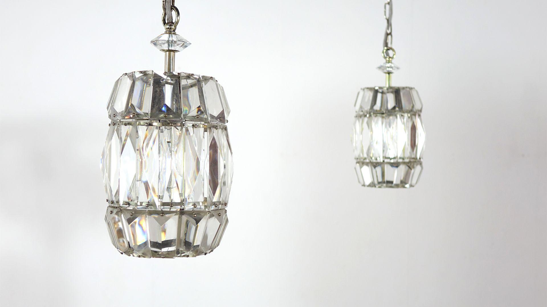 Vintage Hängelampen aus Kristallglas von Bakalowits & Söhne, 2er Set