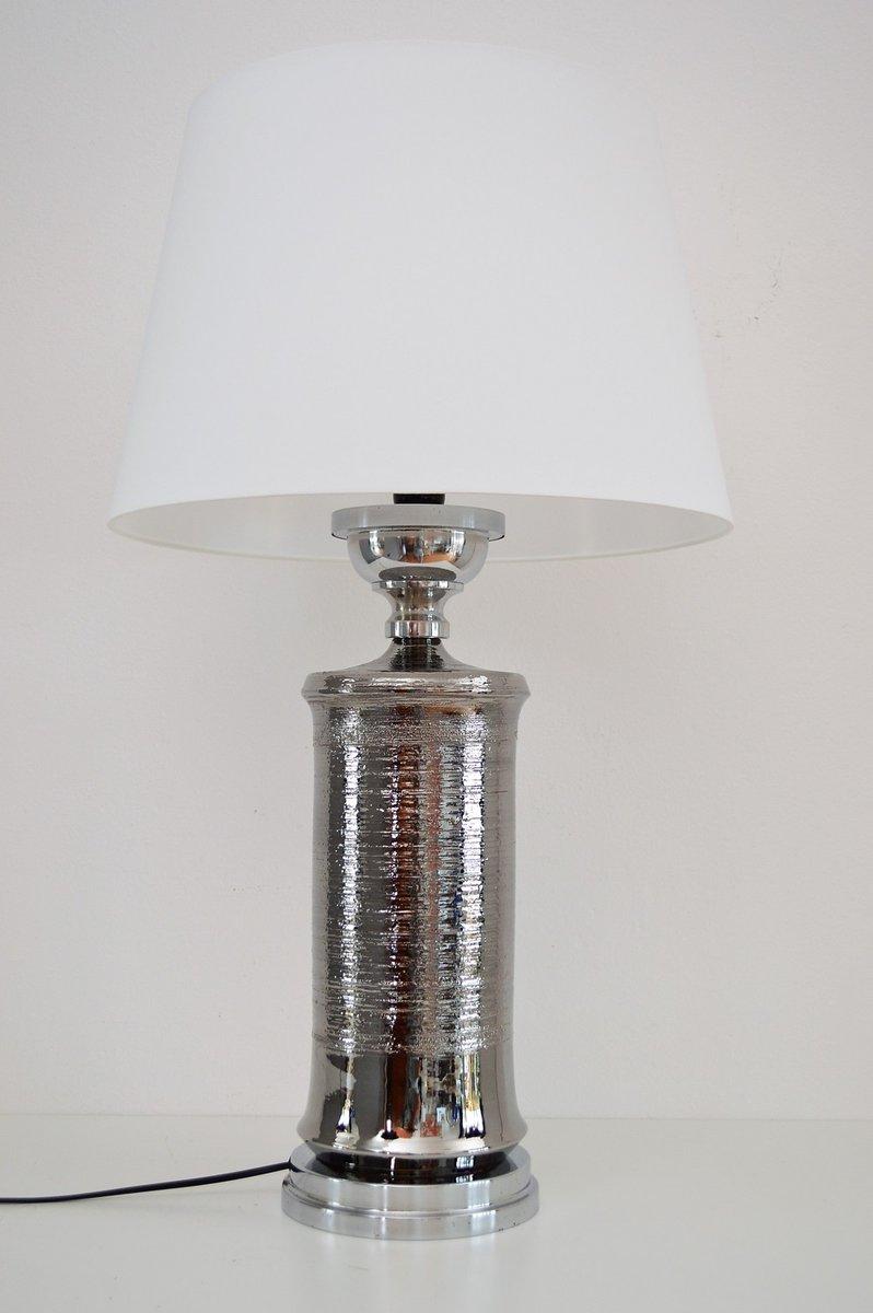 Italienische Tischlampe aus Keramik & Chrom von Aldo Londi für Bitossi...