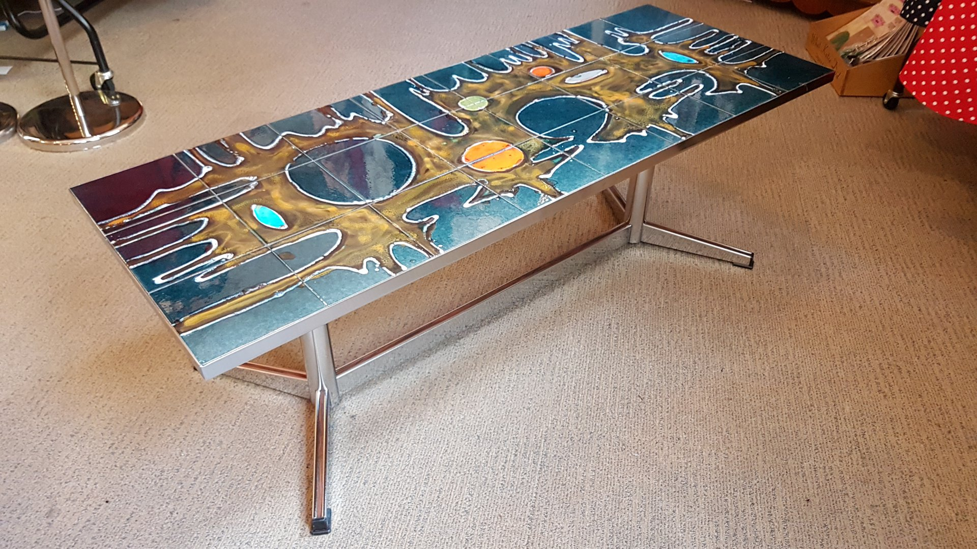 Large Belgian Tiled Coffee Table 1960s
