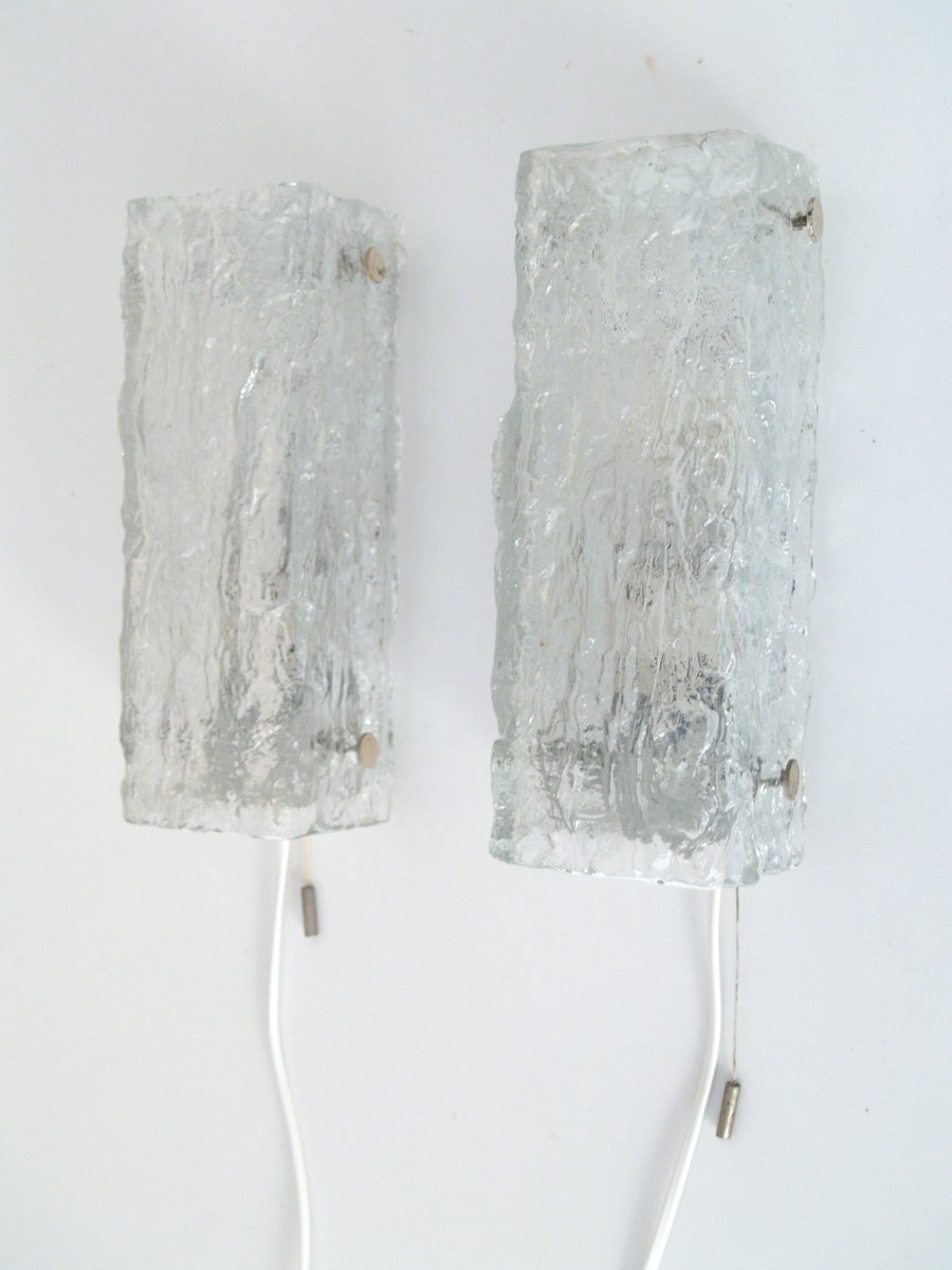 Wandlampen aus Eisglas von Kaiser Leuchten, 1960er, 2er Set