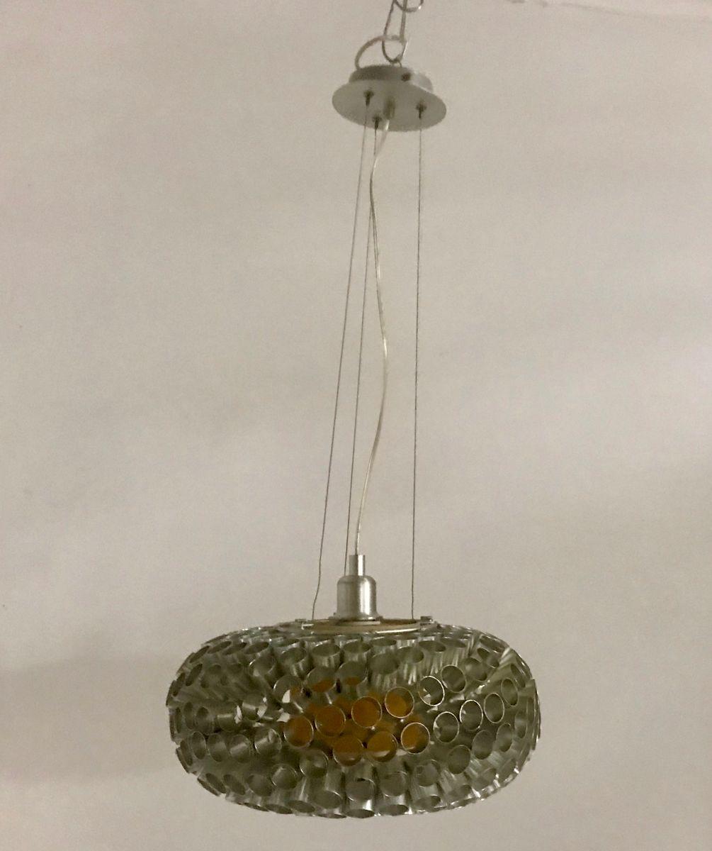 Italienische silberfarbene Deckenlampe, 1980er