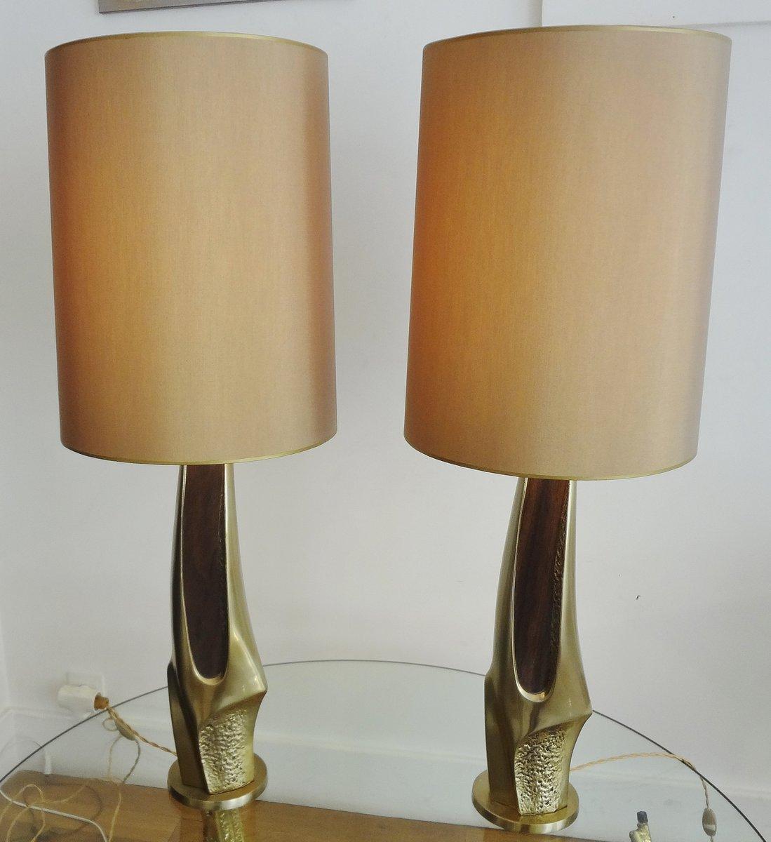 Geschnitzte Lampen aus vergoldetem Messing von Laurel & Company, 1970e...