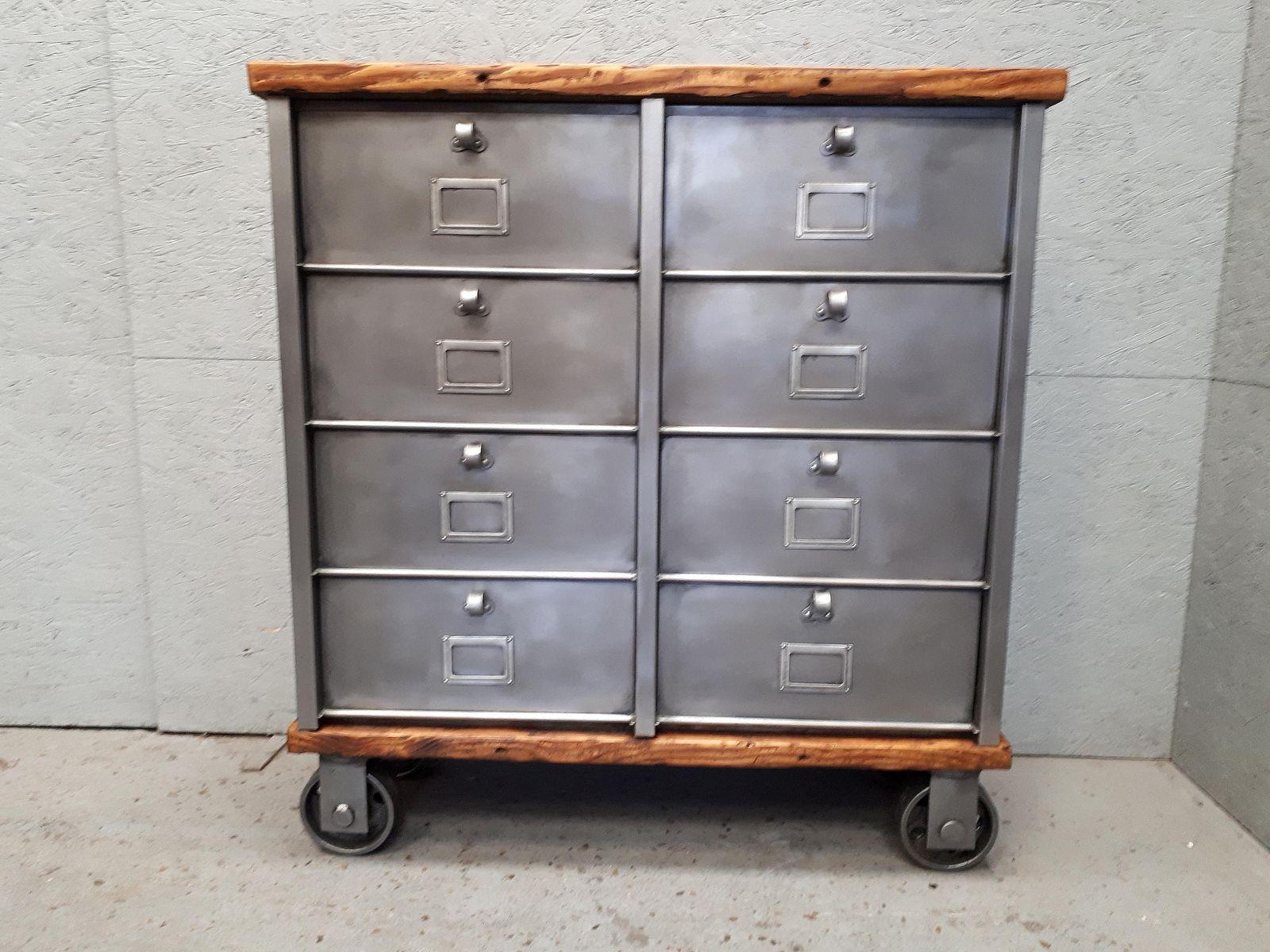 Industrielle Graphite Vintage Kommode Mit 8 Schubladen Von Strafor
