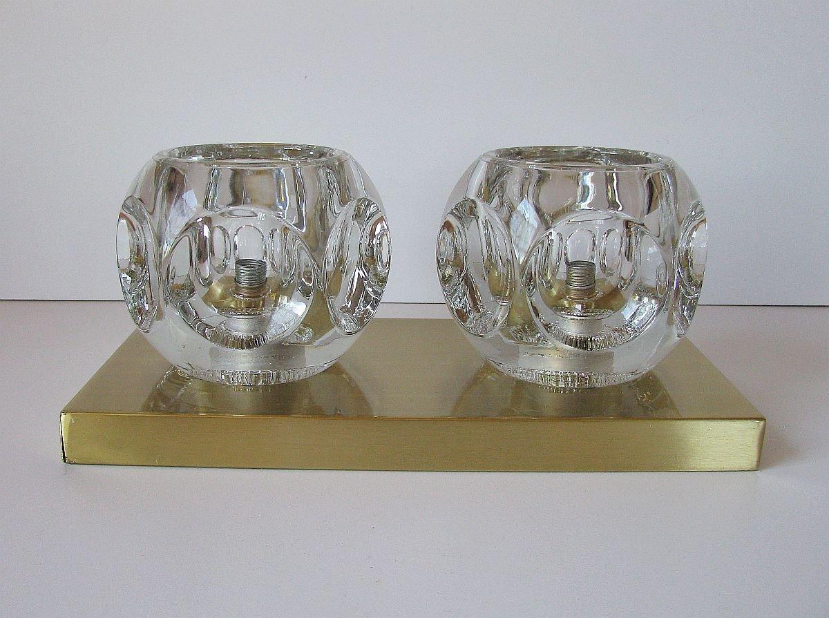 Vintage Wandlampe aus Messing & Glas von Peill & Putzler, 1970er