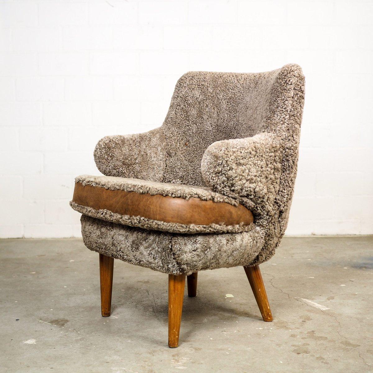 Sessel aus Lammfell von Paul Boman, 1940er, 2er Set