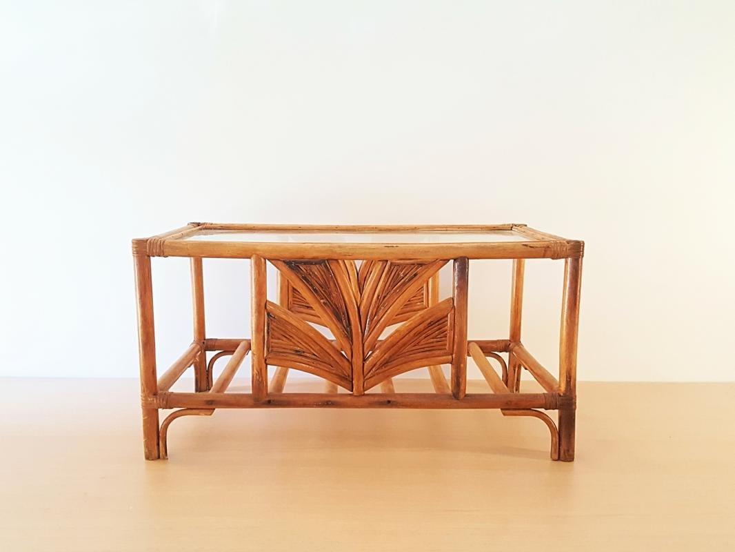 Couchtisch aus Bambus und Glas, 1970er