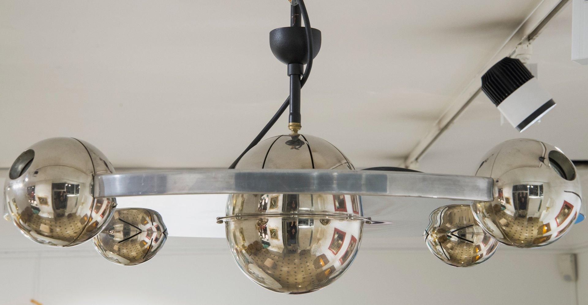 Stahl Deckenlampe von Yonel Lebovici,1960er