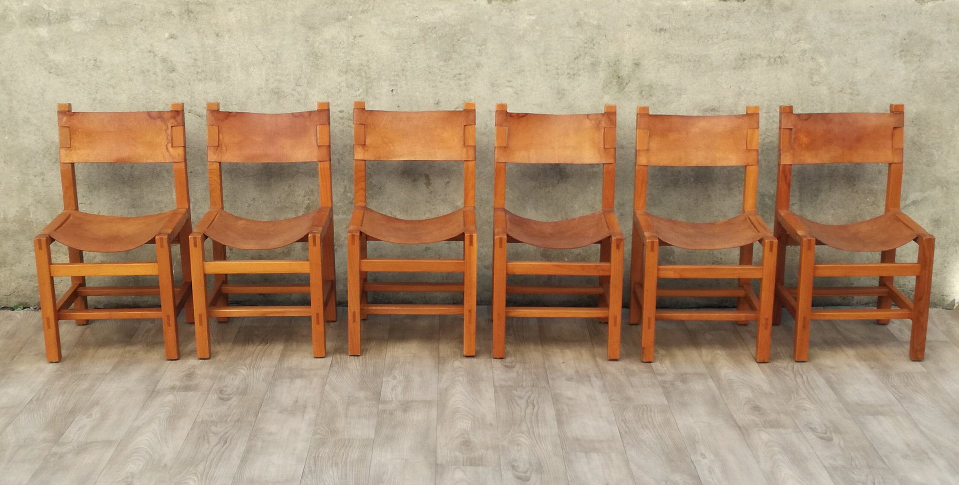 Elm Leather Chairs From Maison Regain 1960s Set Of 6 Bei Pamono
