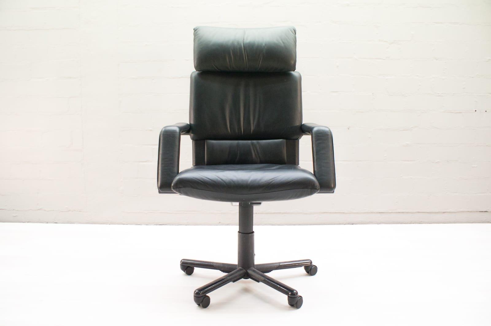 Sedie Da Ufficio In Pelle : Sedia da ufficio figura ii vintage in pelle di mario bellini per