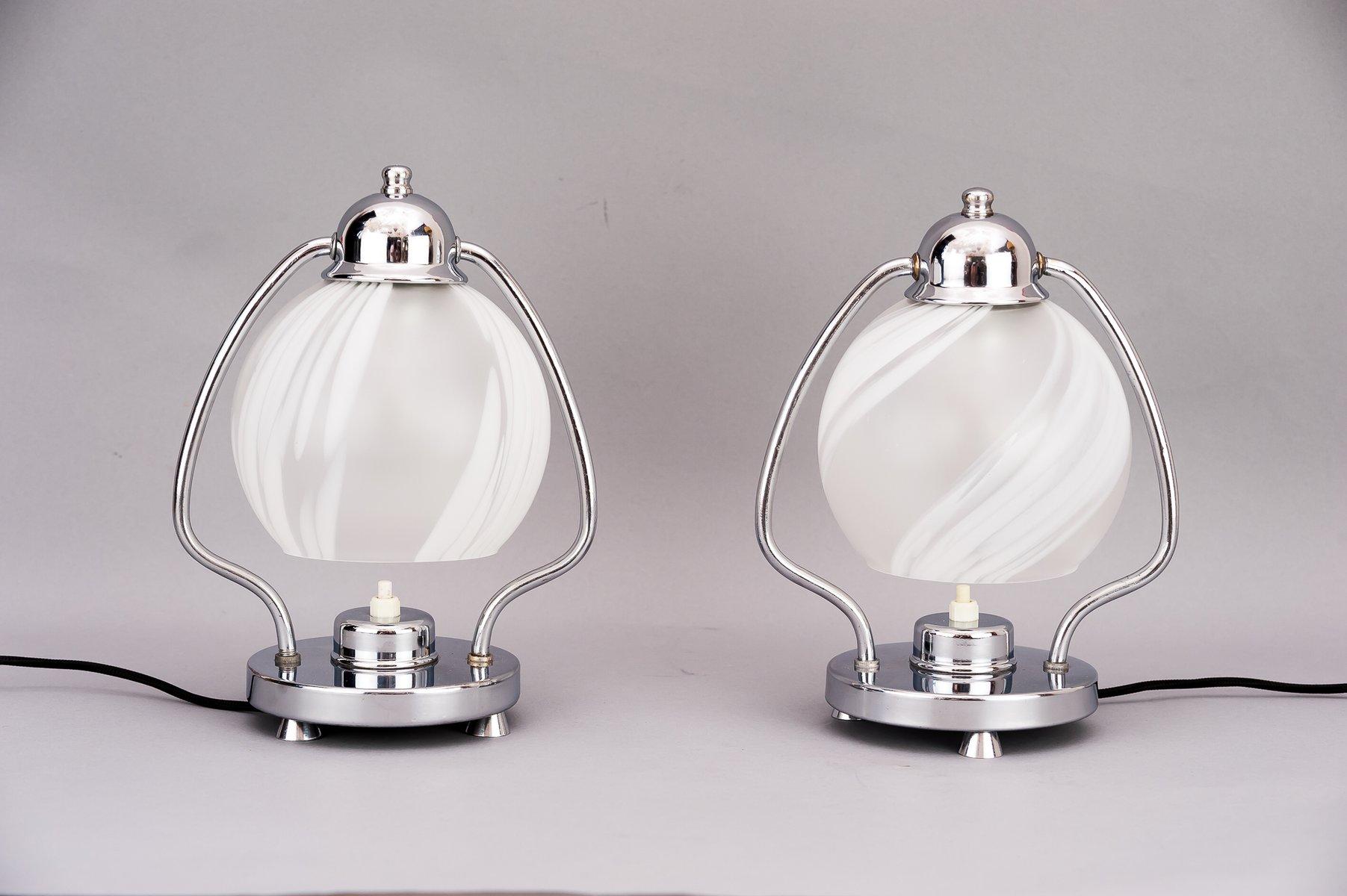 Art Deco Chrom & Glas Tischlampen, 1920er, 2er Set