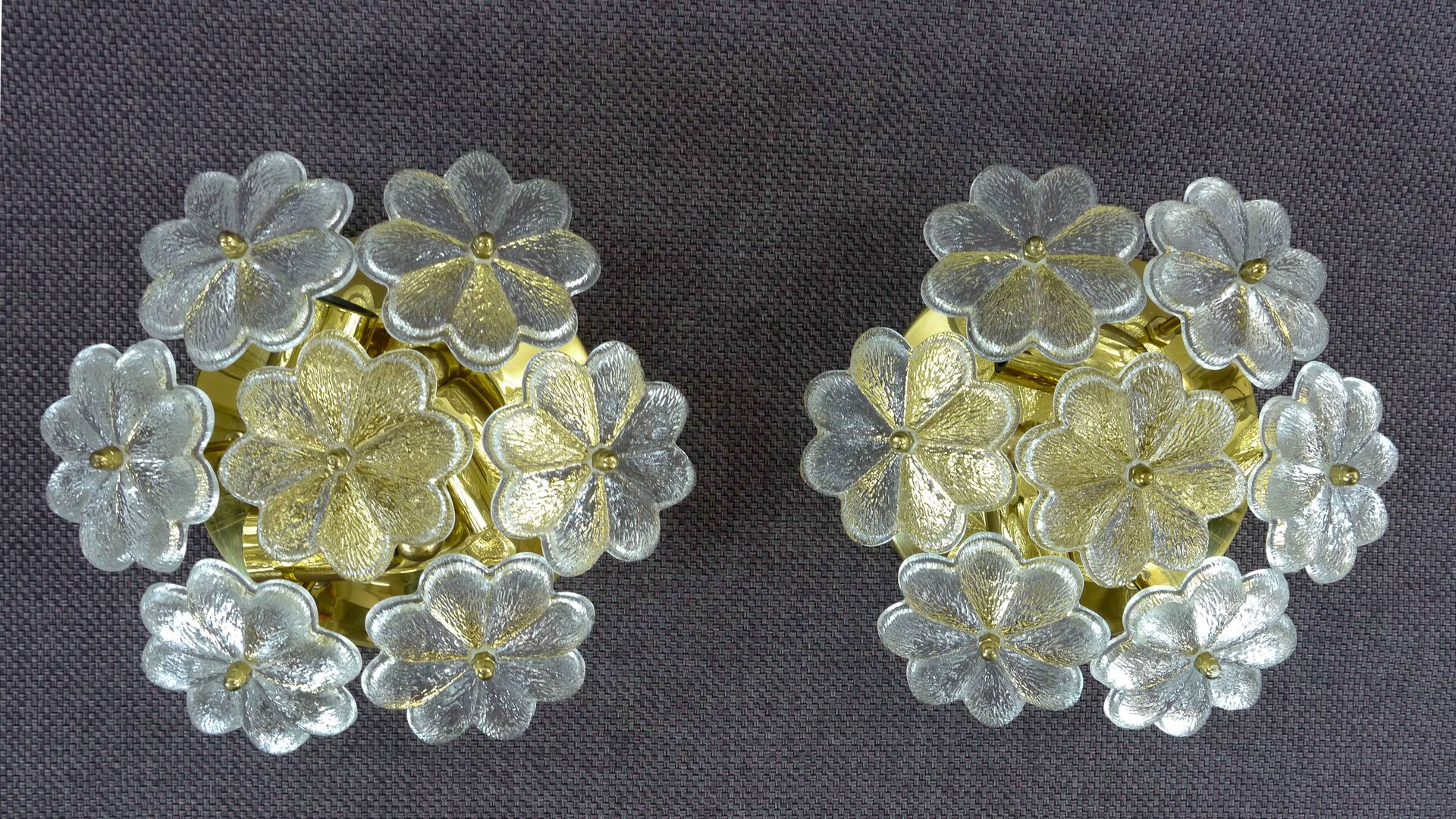 Florale Wandlampen aus Glas von Ernst Palme, 1960er, 2er Set