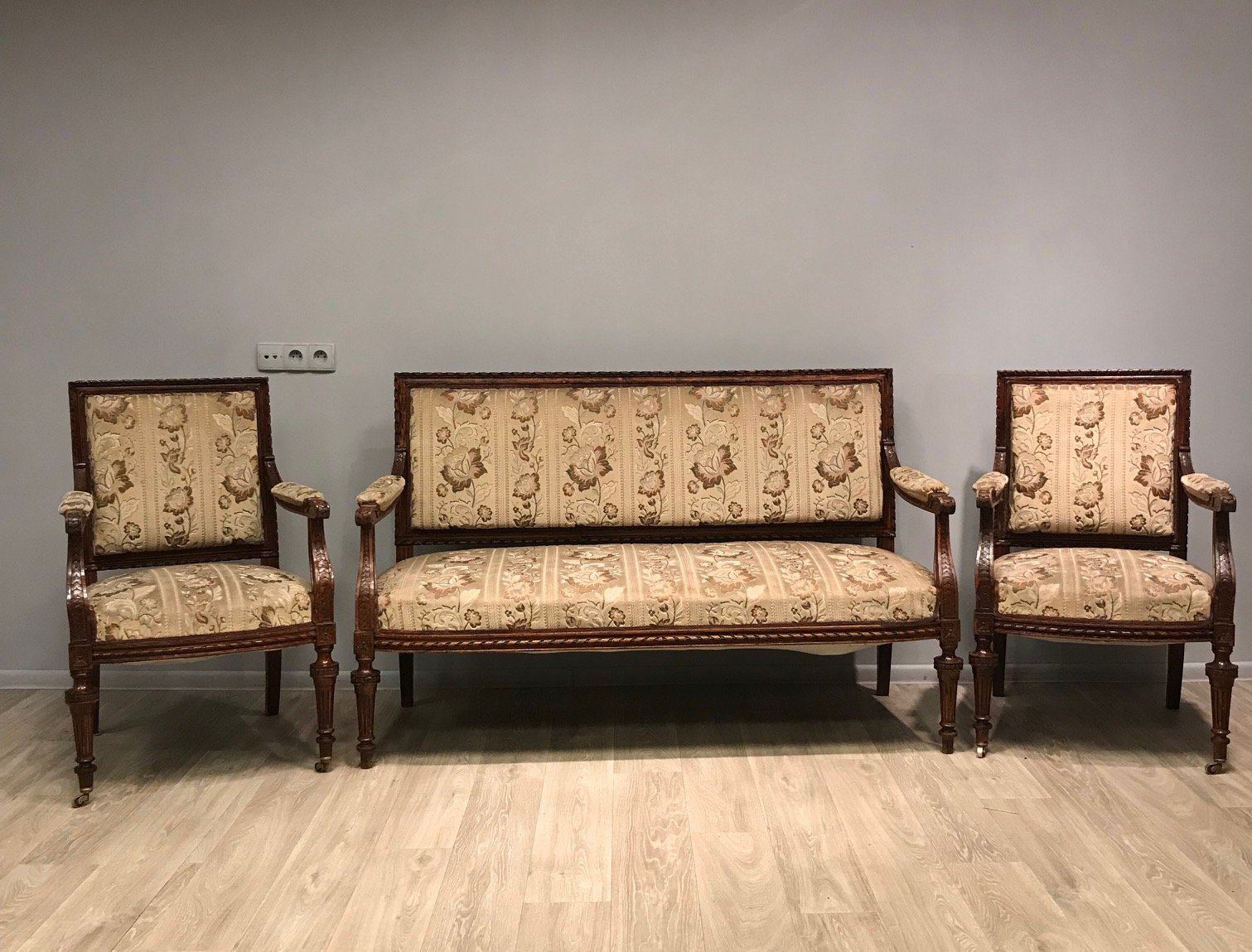 Antique Living Room Set, Sofa and 2 Armchairs