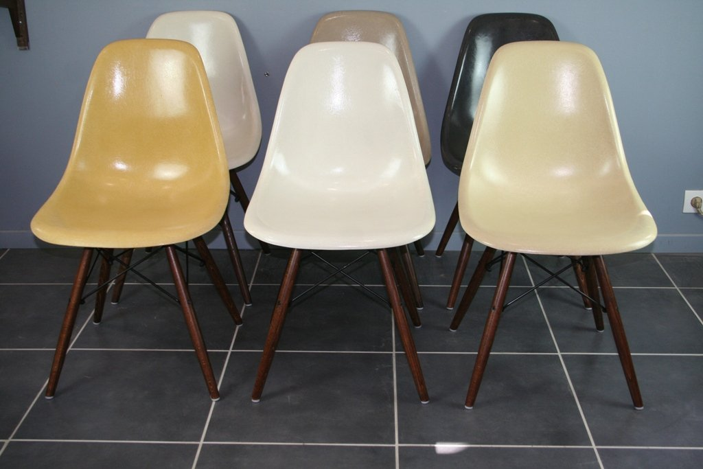 Vintage DSW Chairs In Walnut With Fiber Seats By Charles U0026 Ray Eames For  Herman Miller, Set Of 6