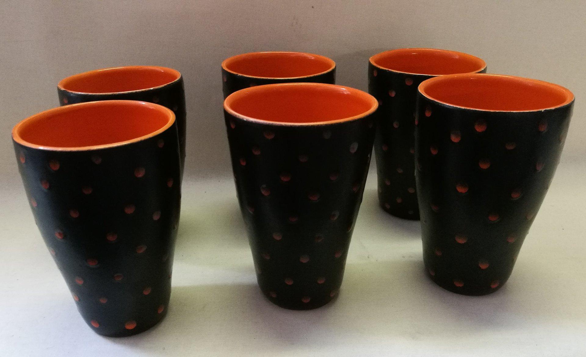 Italian set of 1 carafe & 6 glasses from ceramiche di albisola