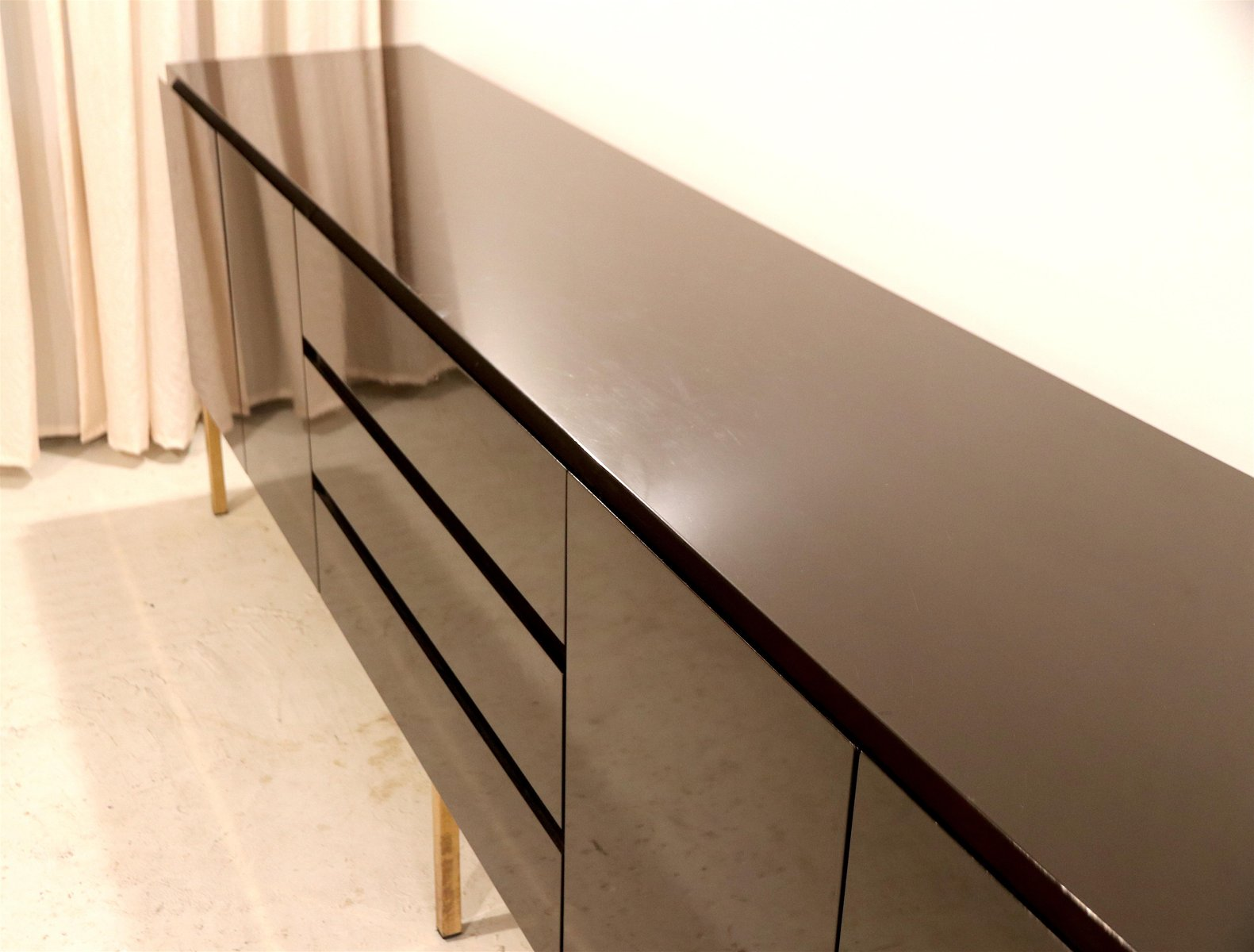 Credenza Dark Brown : High gloss lacquered credenza by jean claude mahey for roche bobois