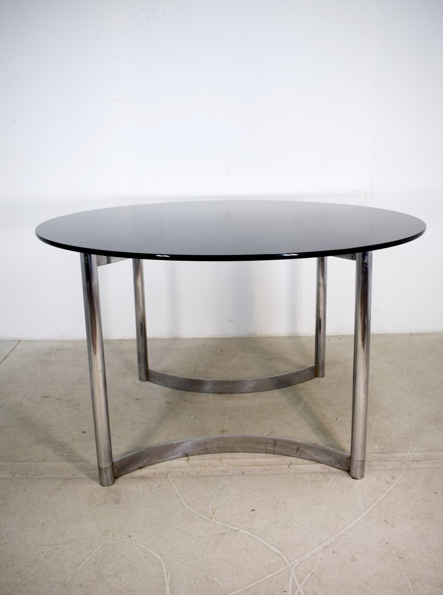 Italienischer Tisch aus Stahl & Rauchglas, 1970er