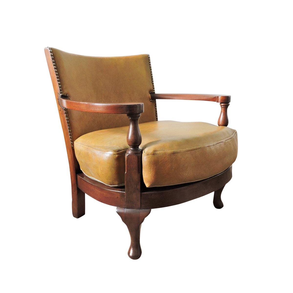 Vintage Sessel aus Senf gelbem Leder & Holz bei Pamono kaufen