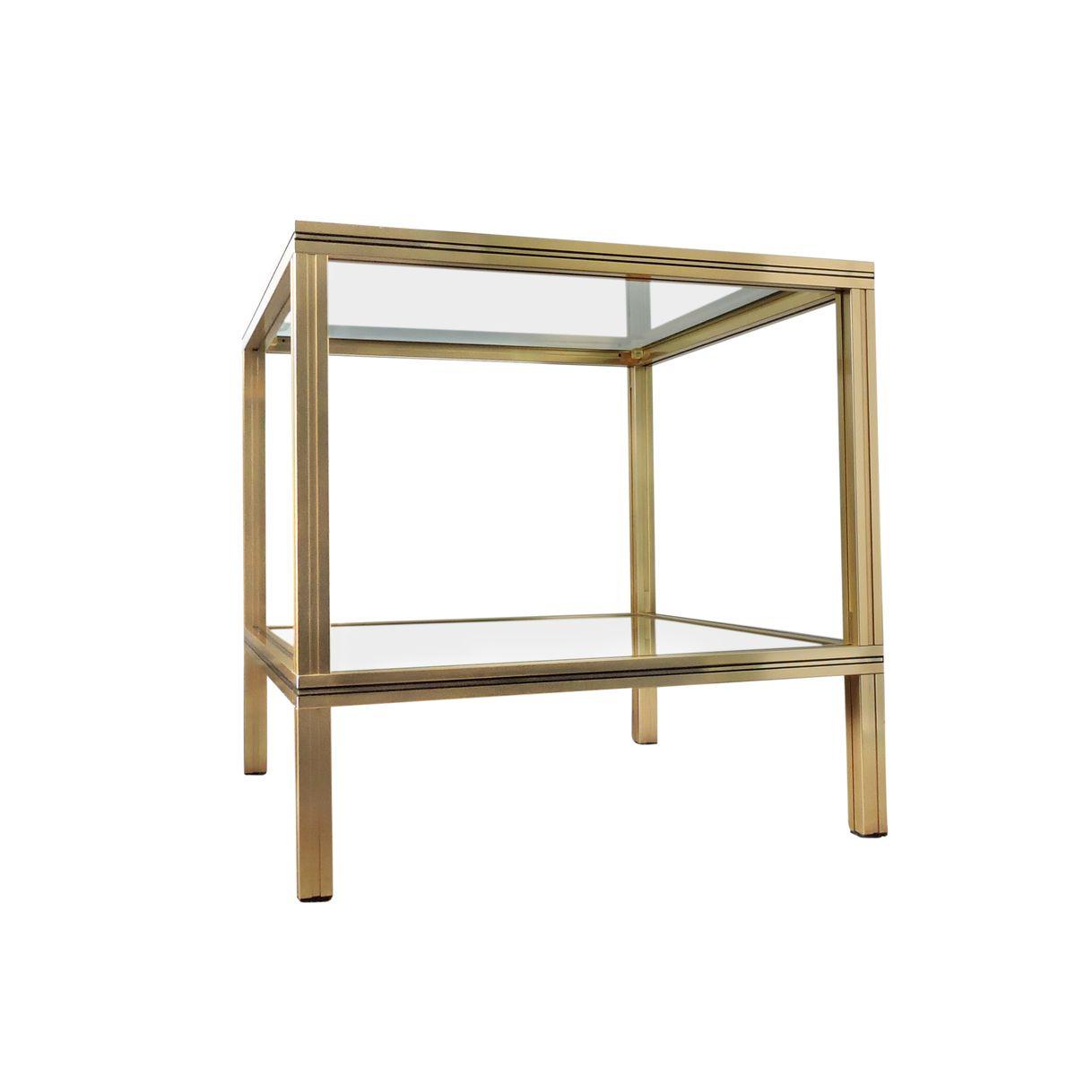 quadratischer beistelltisch aus messing und glas von pierre vandel 1970er bei pamono kaufen. Black Bedroom Furniture Sets. Home Design Ideas
