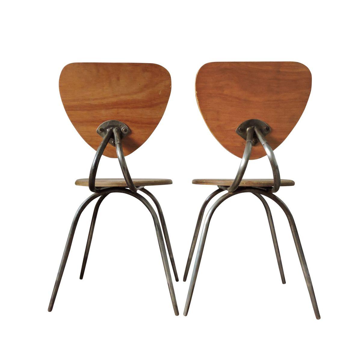 Gebogene Stühle Aus Holz Und Metall 1960er 2er Set Bei