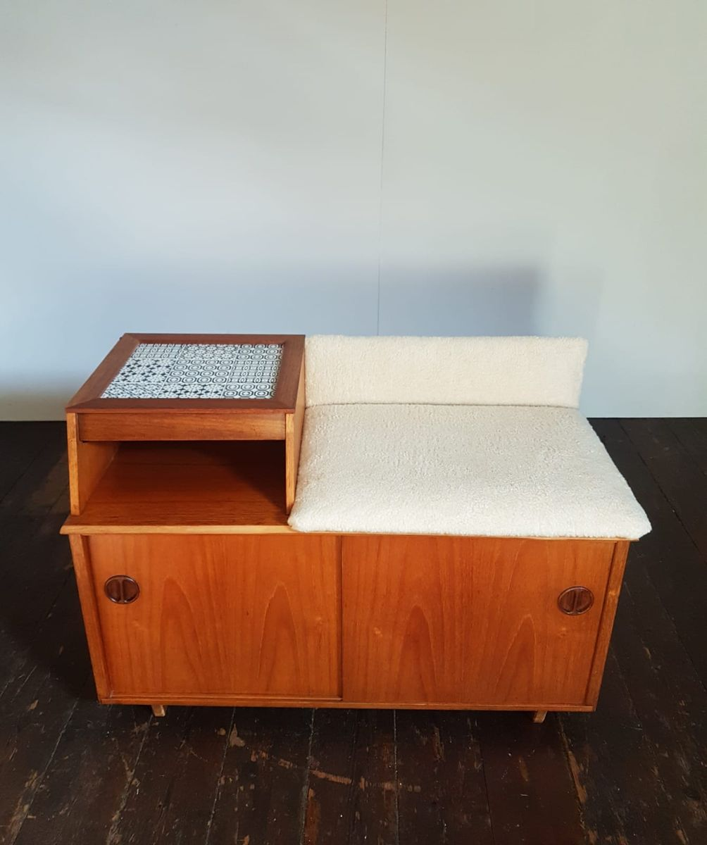 Mid Century Telephone Table With Tiled Top Wool Seat