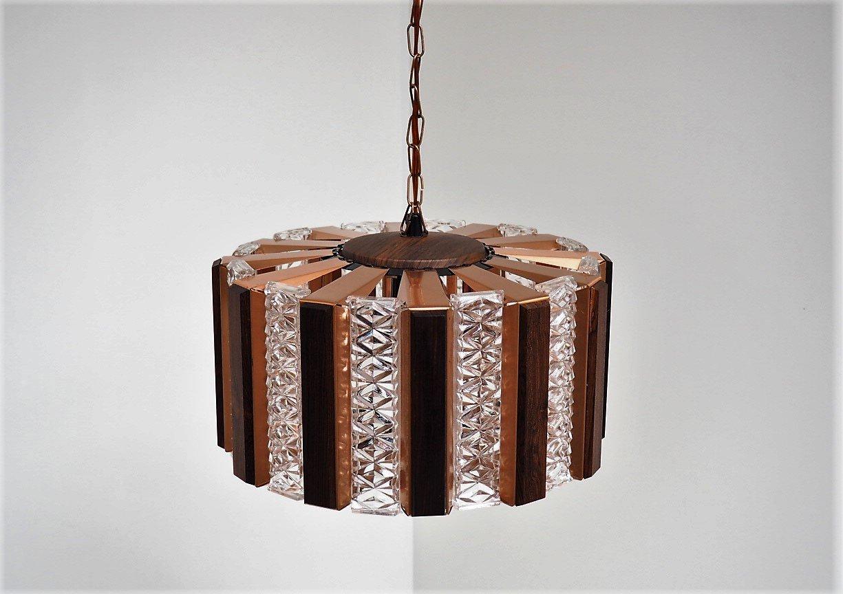 Kupfer & Glas Hängelampe mit Palisander Details von Werner Schou für C...