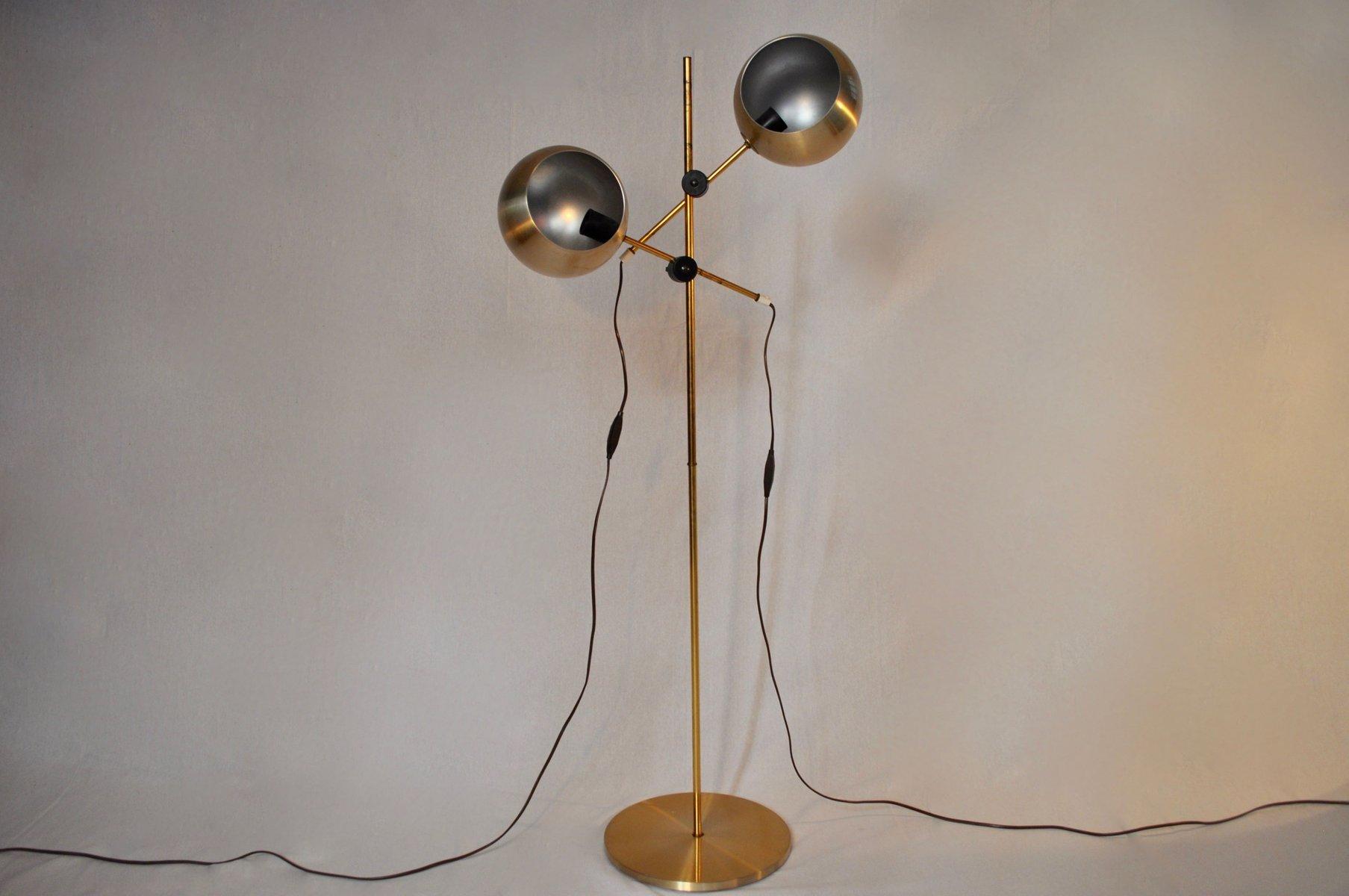 Messing Stehlampe mit zwei Leuchten von Hemi, 1950er
