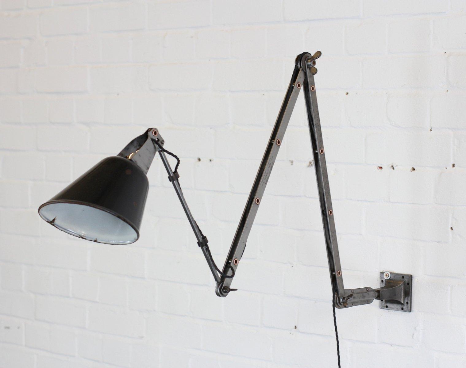 Industrielle Wandlampe von Walligraph, 1930er