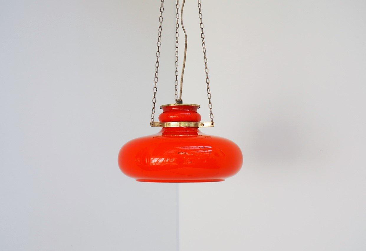 Hängelampe aus orangefarbenem Glas von Vitrika, 1960er