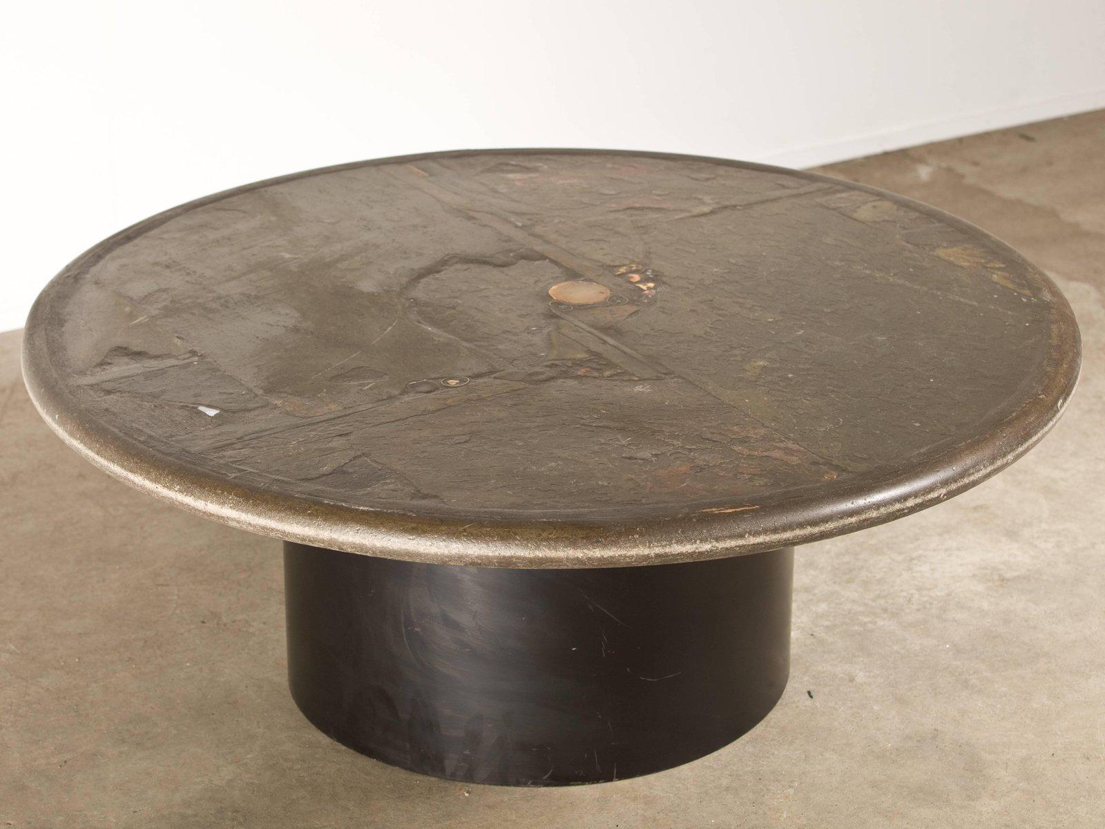 Vintage Couchtisch mit Schieferplatte von Paul Kingma