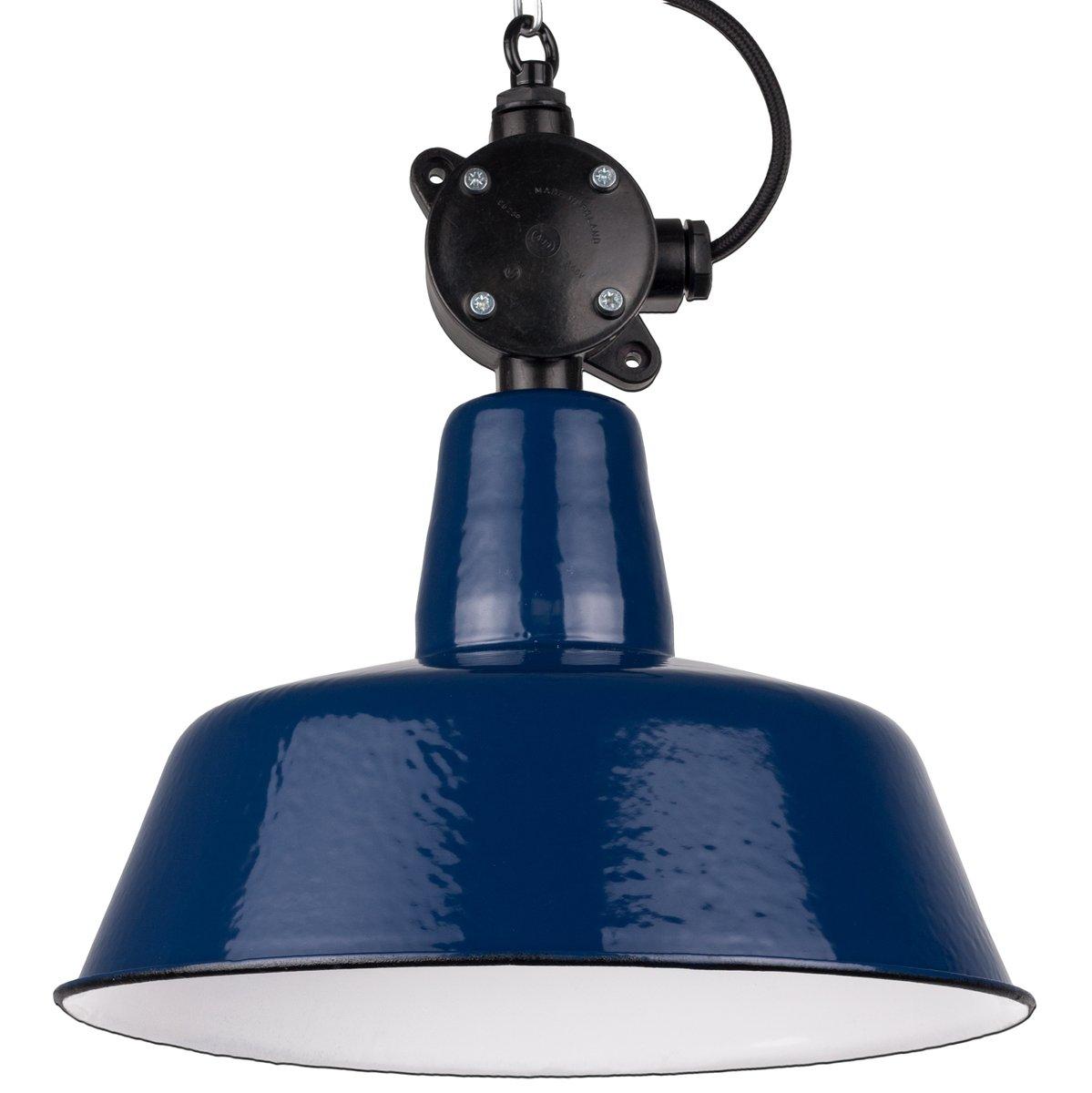 Polnische blaue industrielle Vintage Hängelampe