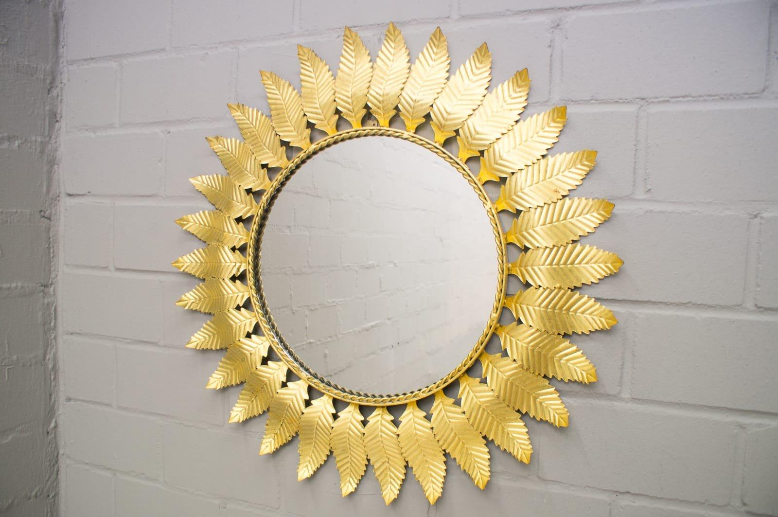 Brass Leaf Sunburst Mirror, 1960s for sale at Pamono