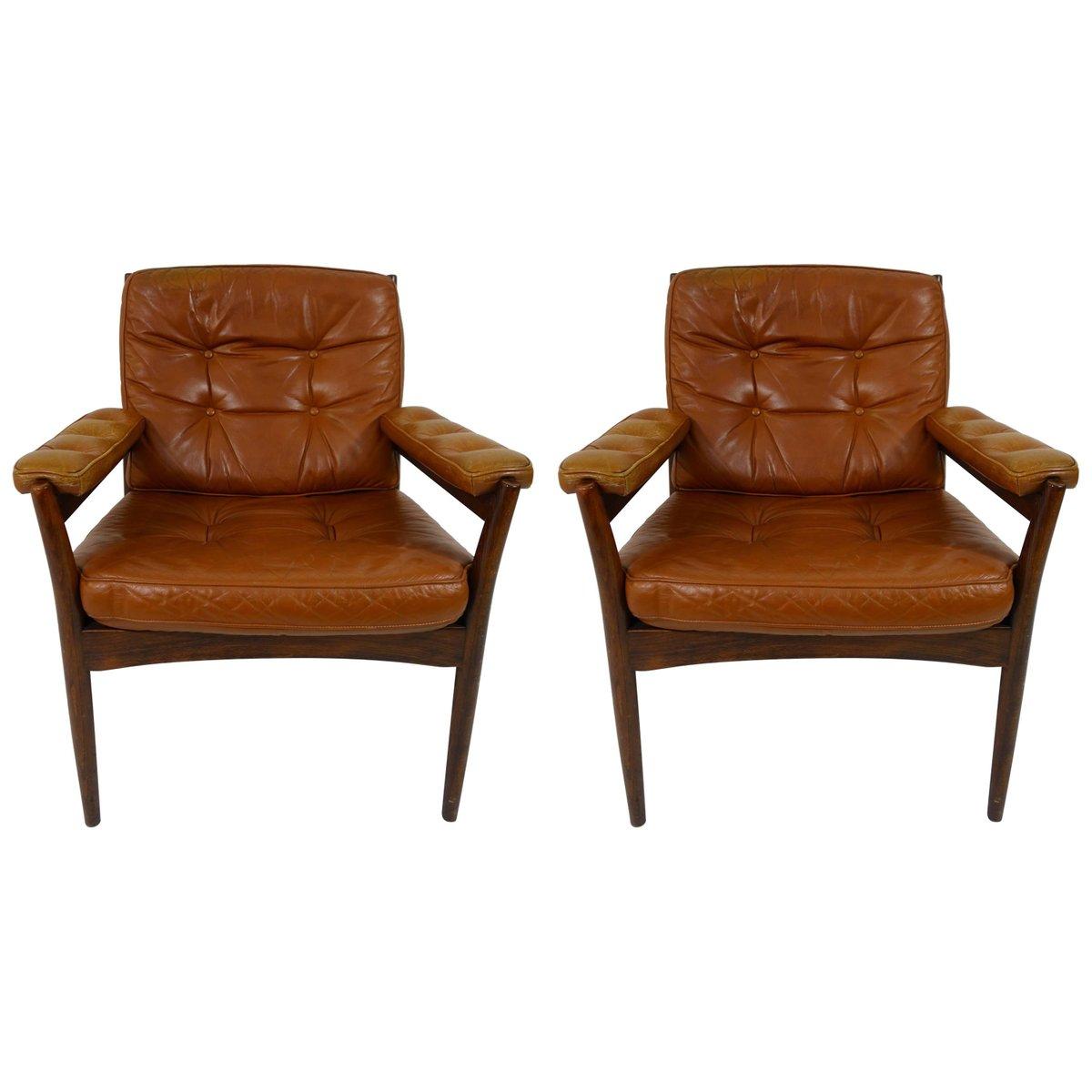 mid century armlehnsessel aus holz leder von gote m bel 2er set bei pamono kaufen. Black Bedroom Furniture Sets. Home Design Ideas