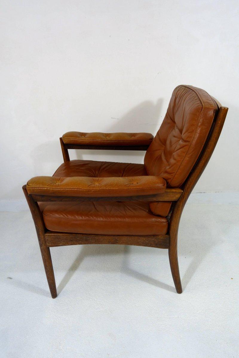 mid century armlehnsessel aus holz leder von gote m bel. Black Bedroom Furniture Sets. Home Design Ideas