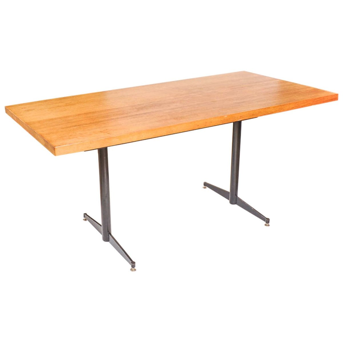 Vintage Oak Steel Dining Table